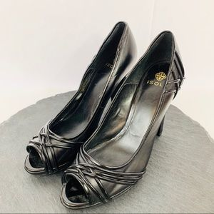 Isola womens black leather heels size 8.5M